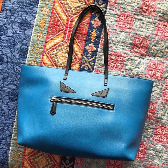 Fendi Handbags - FENDI - Blue Monster Buggies Medium Roll Tote Bag b7659fb66321d